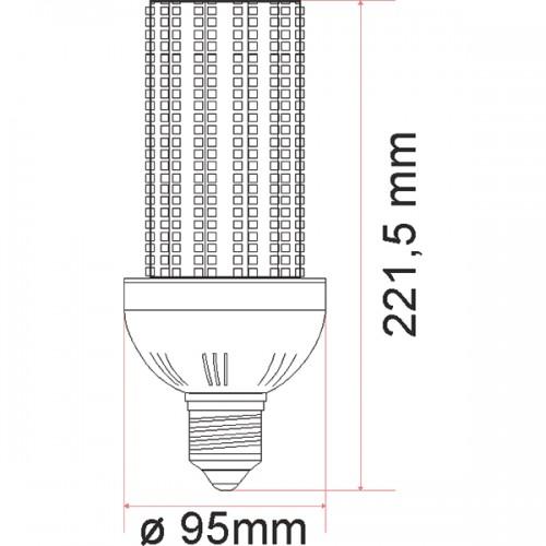 Wymiary żarówki przemysłowej LED CORN